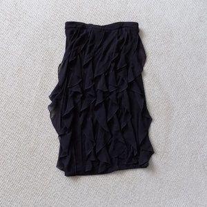 BCX RUFFLE STRAPLESS STRETCHY BLACK DRESS